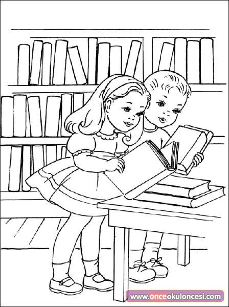 Kütüphane Boyama Sayfaları