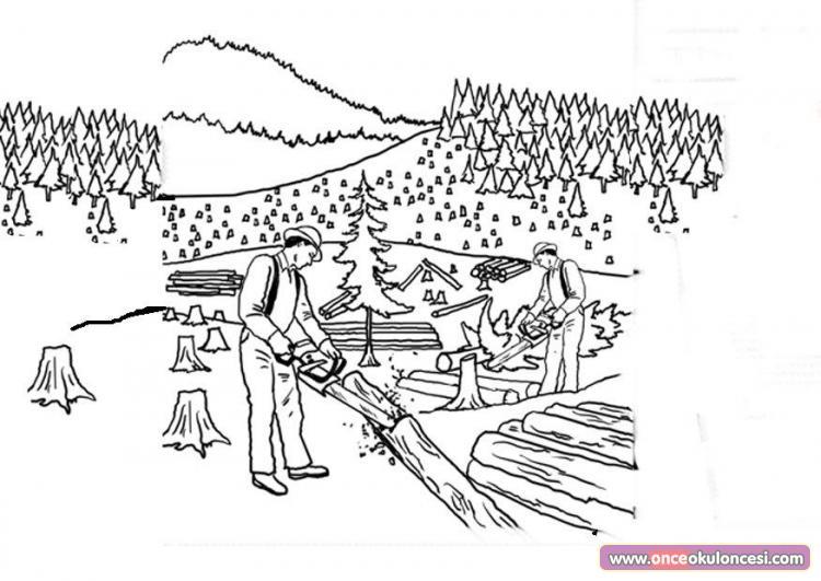 Ağaçlar Gereksiz Kesilmemeli Boyama Sayfası