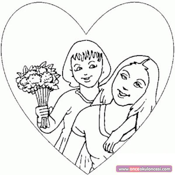 Değerler Eğitimi Anne Sevgisi Boyama Sayfaları