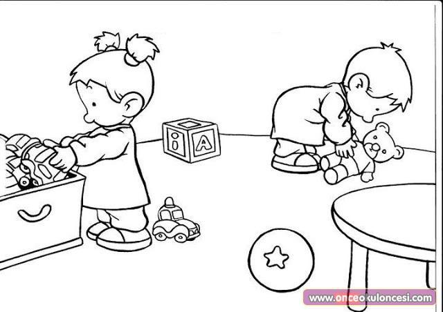 Eşyalarını Oyuncaklarını Yerleştirme Sorumluluğu Boyama