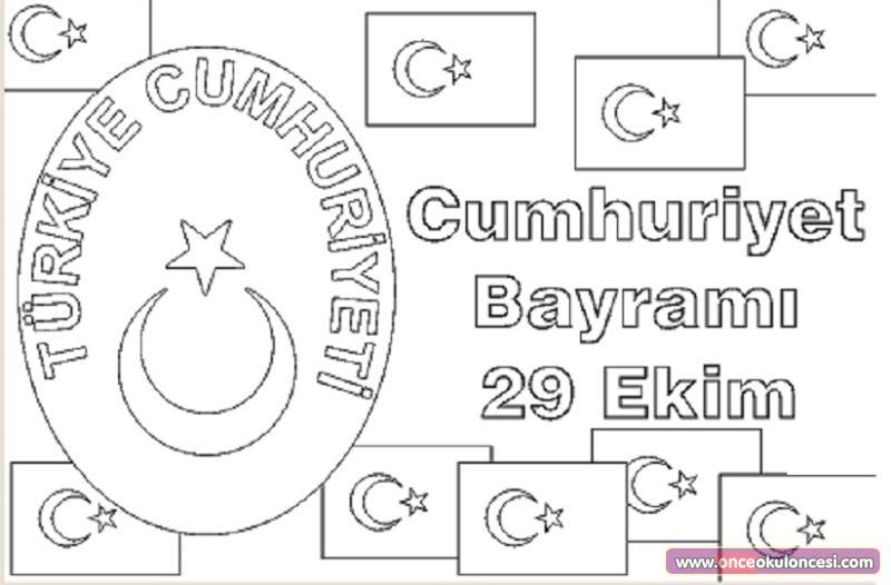 29 Ekim Cumhuriyet Bayramı Boyama Sayfası