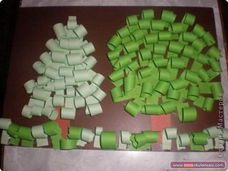 Аппликация деревья из бумаги