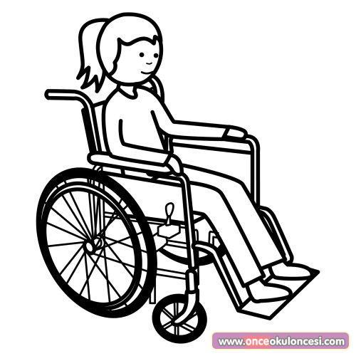 Tekerlekli Sandalye Ve Yürüme Engelliler Boyama