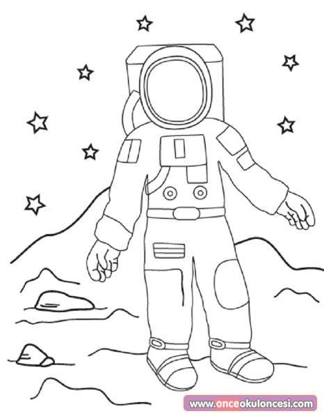 Astronot Boyama Sayfasi Ve Kalibi