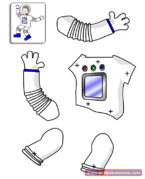 Astronot Boyama Sayfası Ve Kalıbı