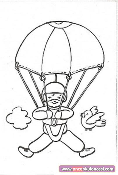 рисунок парашютисты раскраска яркая внешность помогает