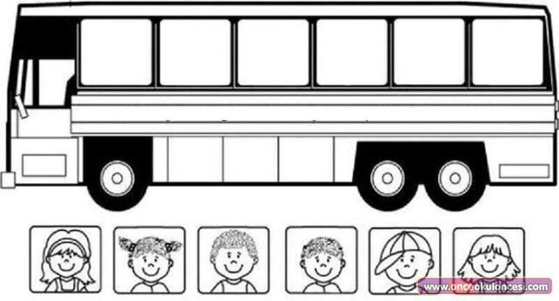 Otobüs Ve Yolcuları Boyama Sayfası