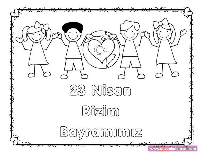 23 Nisan Bizim Bayramimiz Boyama Sayfasi
